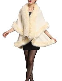 Helan Women's Faux Fox Fur Double Layers Shawl Cloak Cape Coat