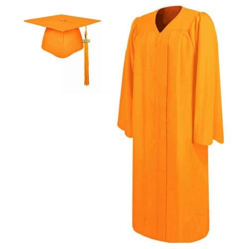 - Lescapsgown Matte Graduation Gown and Cap Tassel 2019,All Sizes for Adult(Orange 54FF)