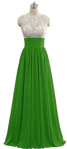 Onlybridal Women's Sleeveless Bridesmaid Dresses Green Long Chiffon Beaded Formal Evening Party Prom Gowns Plus Size