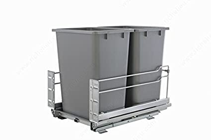 Bottom mount Soft Closing Full Extension Cabinet Recycling Pull Out Trash Organizer with High capacity designed for tight spaces (Champagne) RHK