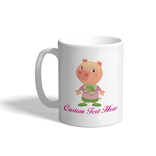 Custom Funny Coffee Mug Coffee Cup Pig Dressed Up Animals White Ceramic Tea Cup 11 OZ Personalized Text Here