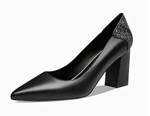 Mujeres 2019 Negro Las De Glter Estaciones Zapatos Primavera Verano Altos Cuatro Baja Bombas Puntiagudas Lentejuelas Boca Tacones Cuero Solo xgBxInU7