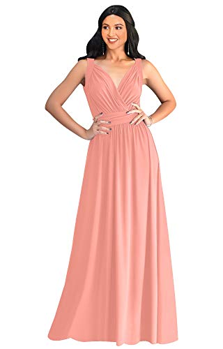 KOH KOH Womens Long Sleeveless Flowy Bridesmaids Cocktail Party Evening Formal Sexy Summer Wedding Guest Ball Prom Gown Gowns Maxi Dress Dresses, Light Pink Peach L 12-14