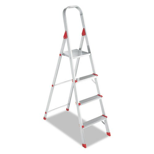 #566 Four-Foot Folding Aluminum Euro Platform Ladder, Red, Sold as 1 Each