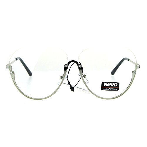 Womens Oversize Granny Upside Down Half Rim Clear Lens Eye Glasses - Upside Down Sunglasses