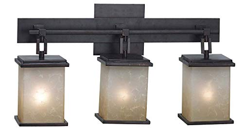 Feiss Canterbury 3 Light Vanity Fixture Oil Rubbed Bronze: Kenroy Home 3374 Plateau 3-Light Vanity, Oil Rubbed Bronze