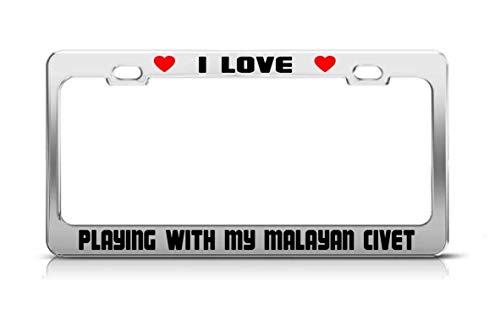 gqurudanri I Love Playing with My Malayan Civet Animal License Plate Frame Tag Holder ()