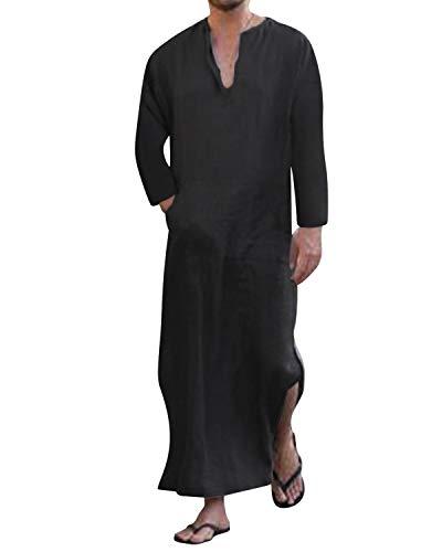 Jacansi Men's Vintage V-neck Turkish Dishdasha Islamic Arabian Long Thobe Black #1 -