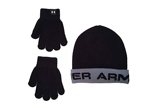 Under Armour Boy`s Beanie & Glove Combo (Black(UAFCP09E-001)/Grey, 1-6 Years(One Size Fits All)) (Under Armour Youth Cap)