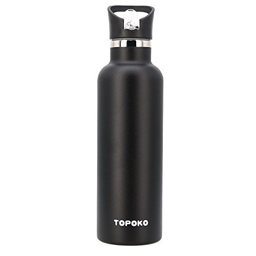TOPOKO 25 OZ Vacuum Insulated Stainless Steel, Sweat Proof, Leak Proof Thermos Hot Cold Water Bottle/Wide or Small Mouth, Vacuum Seal Cap, Reusable Travel Mug Sports Bottle. (Piano Black)