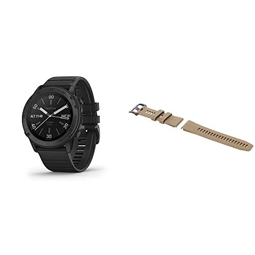 Garmin tactix Delta, Premium GPS Smartwatch with Specialized Tactical Features & 010-12741-04 Quickfit 26 Watch Band - Coyote Tan - Accessory Band for Fenix 5X Plus/Fenix 5X