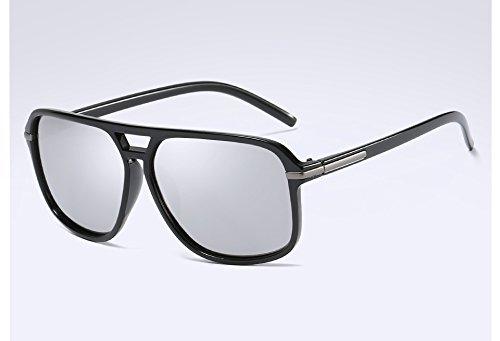 Hommes Soleil TL Homme de black Lunettes Polarisée Accessoires Lunettes Lunettes Guide Tons Sunglasses silver de Vintage des rttXq