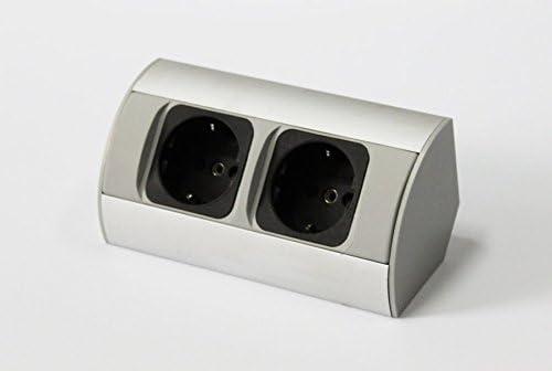 Enchufe de esquina aluminio caja de alimentación enchufe de mesa powerport contacto de puesta a tierra: Amazon.es: Iluminación