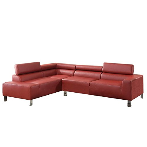 Poundex Bokona Miter Bonded Leather 2 Piece Sectional, Burgundy For Sale