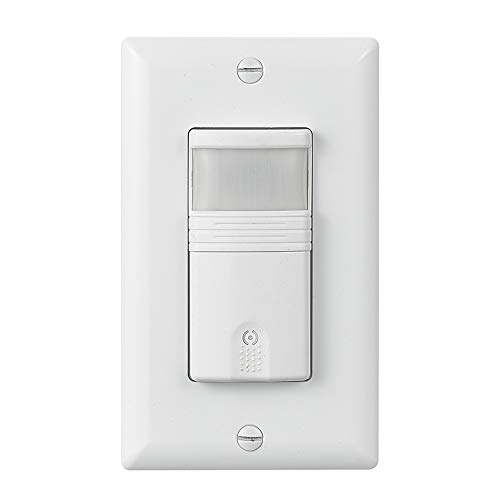 ECOELER Motion Sensor Light Switch, Vacancy & Occupancy Sensor Light Switch, Motion Sensor Wall Switch, PIR 180° Field View Sensor Switch, Neutral Wire Required, Motor 1/8Hp, UL Listed, Plate -