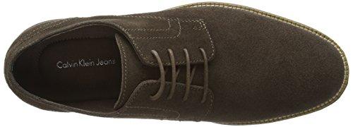 Calvin Klein Sean Suede -  Zapatos con cordones derby de cuero para hombre Marrón (Dark Taupe)