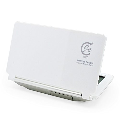 JCC Ultra-slim Digital Travel Pocket Fold Multifunction Desk Table Alarm Clock with Date / Temperature Display / Snooze Function (White)