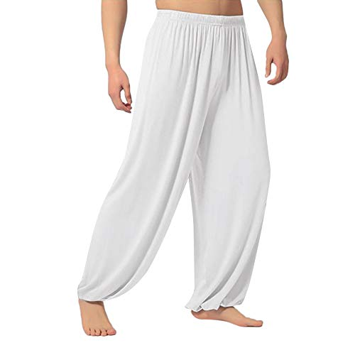Comfort Soft Pants for Men,QueenMMMen's Casual Straight Loose Sweatpants Trousers Jogger Dancing Yoga Pant White ()