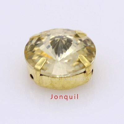 FidgetFidget 30p 12mm Round Crystal Glass sew on Foiled montees Rhinestones Gold palte Stones jonquil
