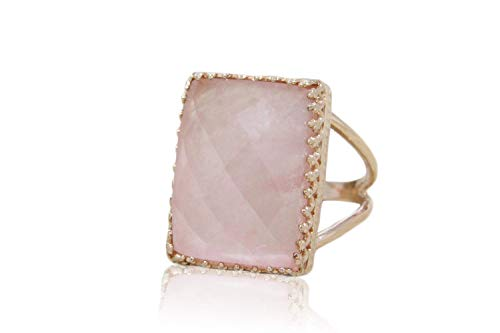 Anemone Jewelry 14K Rose Gold Ring - Ideal Cut 14CT 18mm/13mm Rose Quartz Ring - Large Rose Gold Ring For Women - Free Gift Box Included [Handmade]