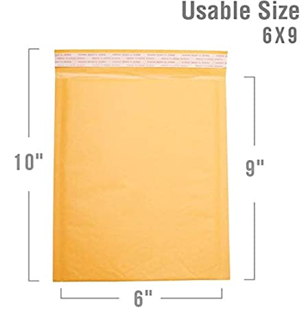 Secure Seal #0 6x10 Kraft Padded Bubble Mailer Shipping Envelopes Pack of 250