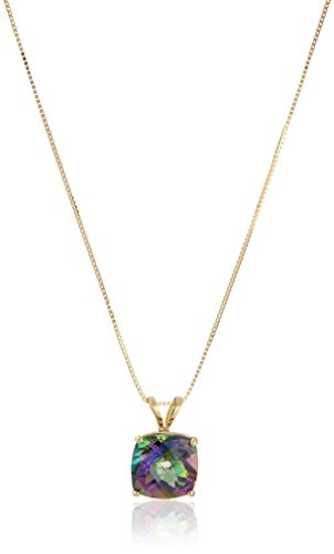 14k Yellow Gold Cushion Checkerboard  Mystic Topaz Pendant Necklace (8mm)