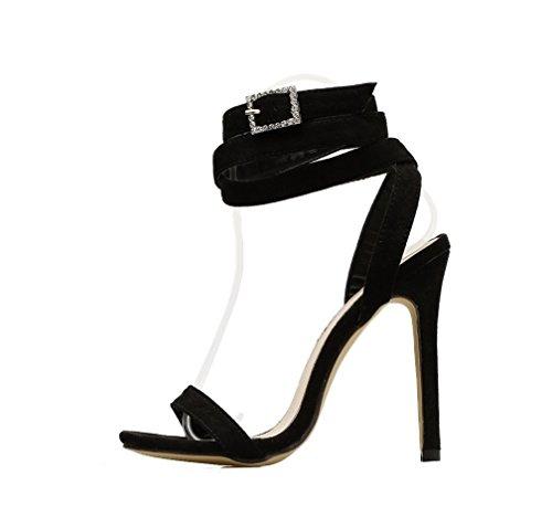 Korkokenkiä Väri Sandaalit Musta Side Mukavuutta Kauniita Super Puhdas Cross Seksikäs Pää Naisten flokki Tyylikäs Tekojalokivi Zhhzz Pyöreä qEgFn4Sx