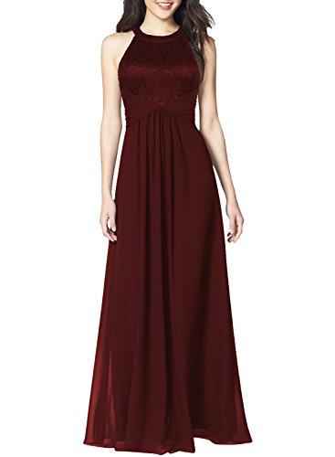 WOOSEA Women's Casual Floral Lace Halter Neck Sleeveless Vintage Wedding Maxi Dress (Burgundy, Large)