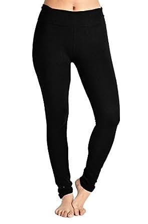 Basico Women's Lady Cotton Spandex Yoga Workout Lounge Pants Leggings (Small, 1003 Black)