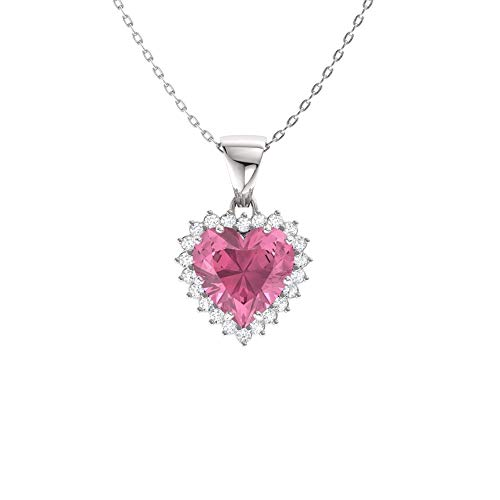 Diamondere Natural and Certified Heart Cut Pink Tourmaline and Diamond Halo Necklace in 14k White Gold | 1.67 Carat Pendant with Chain