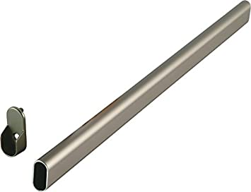 Captivating Oval Closet Rod With End Supports   48in, Satin Nickel