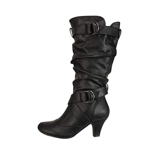 Peize Fashion Women Casual Buckle Strap Over Knee High Boot Ladies Simple Solid Classic Shoes ()