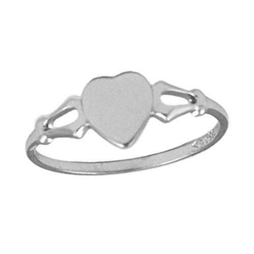 (Children's Jewelry - Sterling Silver Heart Signet Ring For Girls (Size 4))