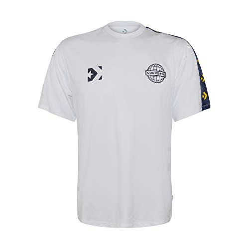 Converse Men's Colorblock Mesh Logo Short Sleeve Jersey Top (White/Navy/Gold, Medium)