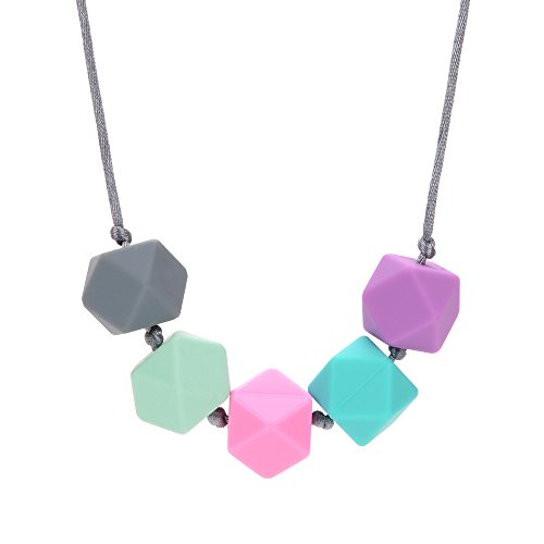 Silicone Teething Necklace BPA Free Grey Mint Pink Turquoise Purple