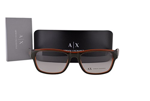 Armani Exchange AX3018 Eyeglasses 53-18-140 Army Green Pumpkin Spice Transparent w/Demo Clear Lens 8142 AX - Los Eyeglasses Designer Angeles