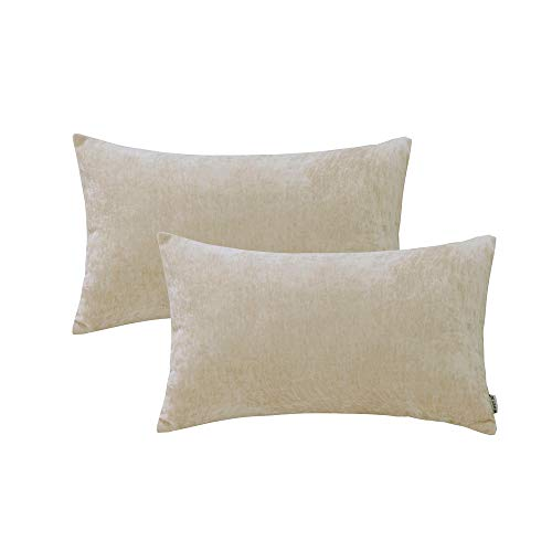 Toss Decorative Pillow Rectangle (HWY 50 Cashmere Soft Decorative Rectangle Throw Pillows Covers Sets Cushion Case for Couch Sofa Bed Living Room 12 x 20 Inches Cream Comfortable Soild Decor Pack of 2 Pillowcases)