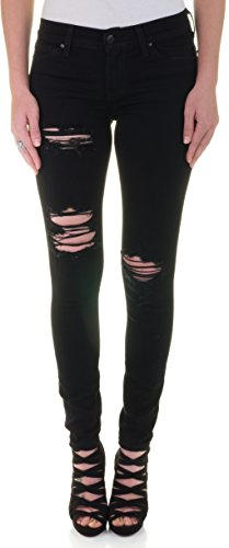 [Eunina Women's Soft Black Destructed Distress Ripped Stretch Skinny Jeans, 9] (Destructed Womens Skinny Jeans)
