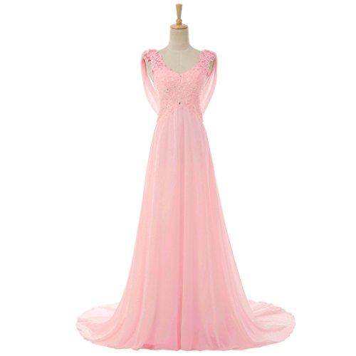 ホイットニー絶妙パトロンAmoreブライダルレディースVネックノースリーブレースウェディングドレスビーズイブニングドレス