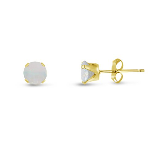 Round 2mm 14k Gold Plated Sterling Silver Genuine Opal Stud Earrings, Free Gift Box (14k Opal Jewelry Box)