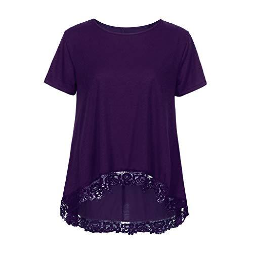 ◐OFEFAN◑ Women's Tops Short Sleeve Lace Trim O-Neck A-Line Tunic Blouse Purple ()