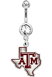 Texas A&M Aggies Belly Navel Ring in Color Logo Stainless Steel and Sterling Silver