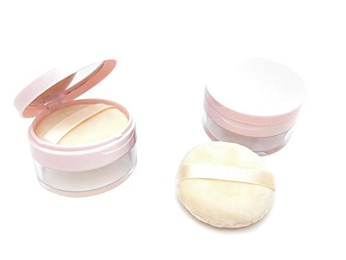 erioctry 20ml/0.67oz Empty Refillable DIY Make-up Loose Powder Case Container with Soft Sponge Puff Mirror and Sifter Foundation Cosmetic Box - Powder Container