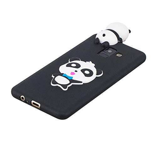 for Samsung Galaxy A8 2018 Silicone Case with Screen Protector,QFFUN 3D Cartoon [Panda] Pattern Design Soft Flexible Slim Fit Gel Rubber Cover,Shockproof Anti-Scratch Protective Case Bumper by QFFUN (Image #2)
