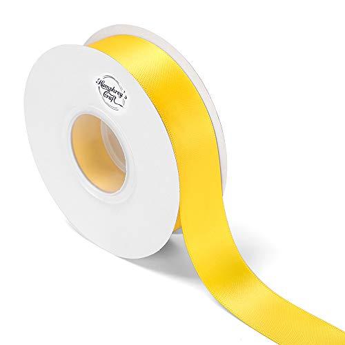 Polyester Satin Ribbon - Humphrey's Craft 1-inch Wide Double Face Satin Ribbon 100% Polyester Ribbon-25 Yard (Daffodil Yellow)