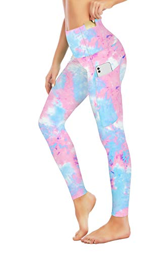 Seyorz High Waisted Yoga Pants with 4 Pockets for Women, Tie Dye Camo Printed Yoga Pants Tummy Control (Pink, X-Large)
