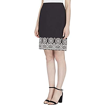 Tahari ASL Womens Textured Embroidered Pencil Skirt