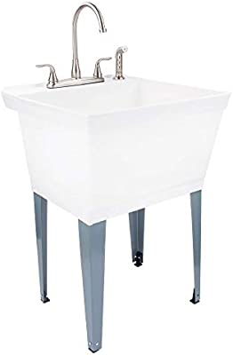 Utility Sink Laundry Tub With Stainless Steel High Rise Faucet By Maya With Side Sprayer Large Basin And Metal Legs Great For Workroom Shop Garage Basement Mud Room White Tub