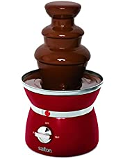 Salton Treats Compact Chocolate Fondue Fountain, No Assembly Required 3 Tier 1.5 Pound Capacity, Recipes Included, Perfect for Nacho Cheese, BBQ Sauce, Salad Dressing, Red (SP1499)