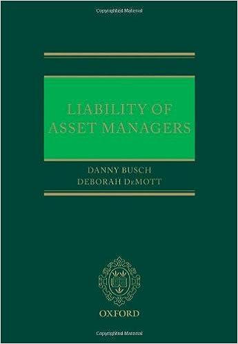 Liability of Asset Managers: Amazon co uk: Danny Busch, Deborah